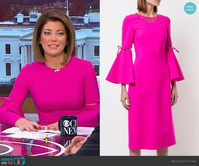 3/4 Flutter Sleeved Pencil Dress by Oscar de la Renta worn by Norah O'Donnell (Norah O'Donnell) on CBS This Morning