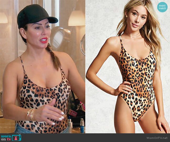 Leopard Print Swimsuit by Forever 21 worn by Kelly Dodd on The Real Housewives of Orange County