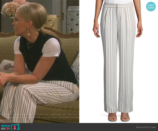 True Stripe Straight-Leg Pants by Frame worn by Melissa Reeves on Days of our Lives