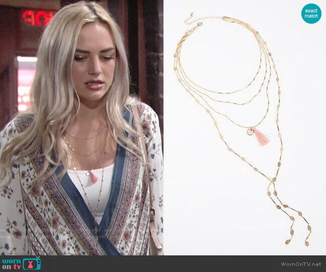 Free People Tiny Tassel Necklace worn by Summer Newman (Bayley Corman) on The Young & the Restless