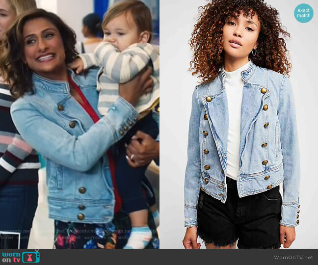 Ferry Denim Jacket by Free People worn by Emet Kamala-Sweetzer (Sarayu Blue) on I Feel Bad