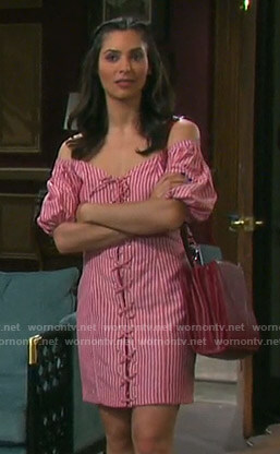 Gabi's red striped lace-up dress on Days of our Lives
