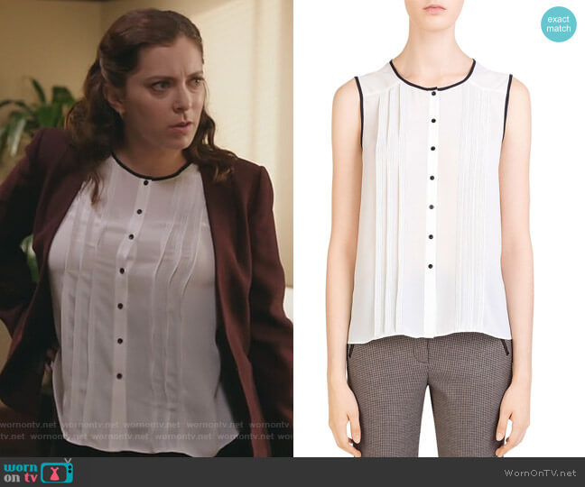Lena Sleeveless Pleated Shirt by Gerard Darel worn by Rebecca Bunch (Rachel Bloom) on Crazy Ex-Girlfriend