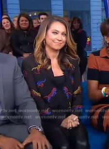 Ginger's black embroidered tiger shirt on Good Morning America