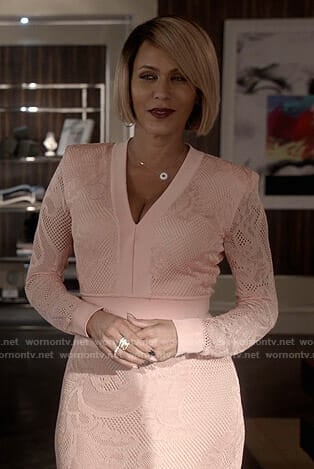 Giselle's pink v-neck lace dress on Empire