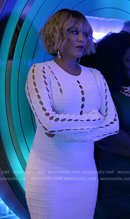Giselle's white cutout knit dress on Empire