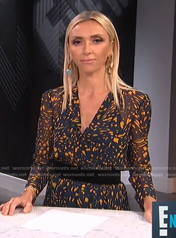 Giuliana's navy splatter print dress on E! News