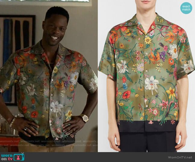 Camp-Collar Printed Silk-Twill Shirt by Gucci worn by Jeff Colby (Sam Adegoke) on Dynasty