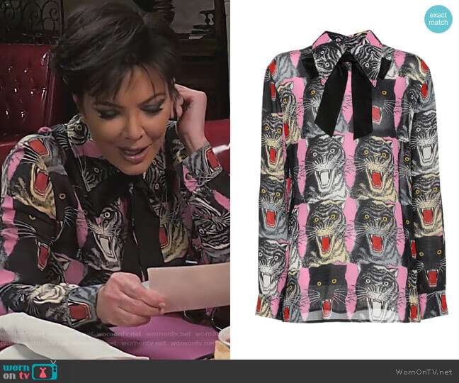 Cat-printed top by Gucci worn by Kris Jenner  on Keeping Up with the Kardashians