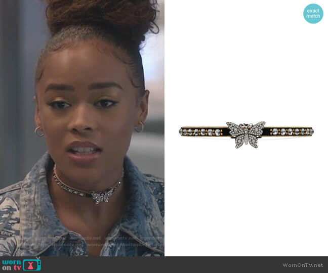 Crystal Studded Butterfly Choker by Gucci worn by Tiana Brown (Serayah McNeill) on Empire