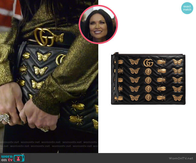 Flat Zip Pouch with Insect Embellishments by Gucci worn by LeeAnne Locken  on The Real Housewives of Dallas