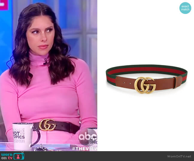 GG Webbing Belt by Gucci worn by Abby Huntsman  on The View
