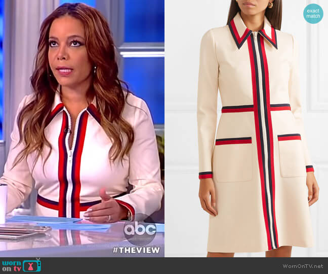 Grosgrain-trimmed stretch-crepe dress by Gucci worn by Sunny Hostin on The View