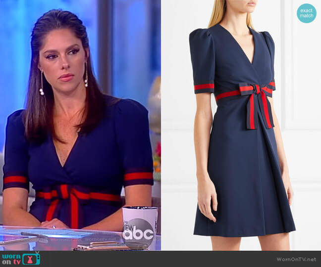 Grosgrain-trimmed stretch-ponte mini dress by Gucci worn by Abby Huntsman  on The View