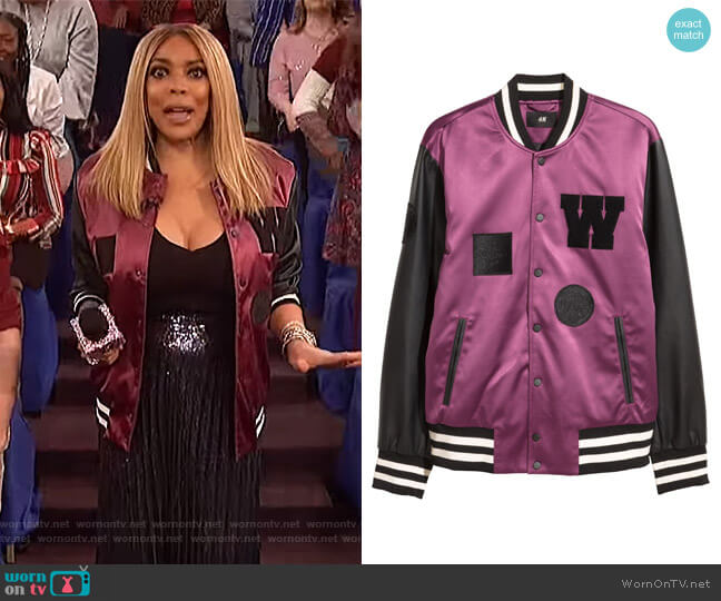 Padded Baseball Jacket by H&M worn by Wendy Williams  on The Wendy Williams Show