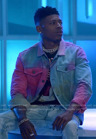 Hakeem's black bird print tee and tie dye denim jacket on Empire