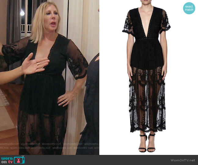 Lace Overlay Romper by Honey Punch worn by Vicki Gunvalson on The Real Housewives of Orange County