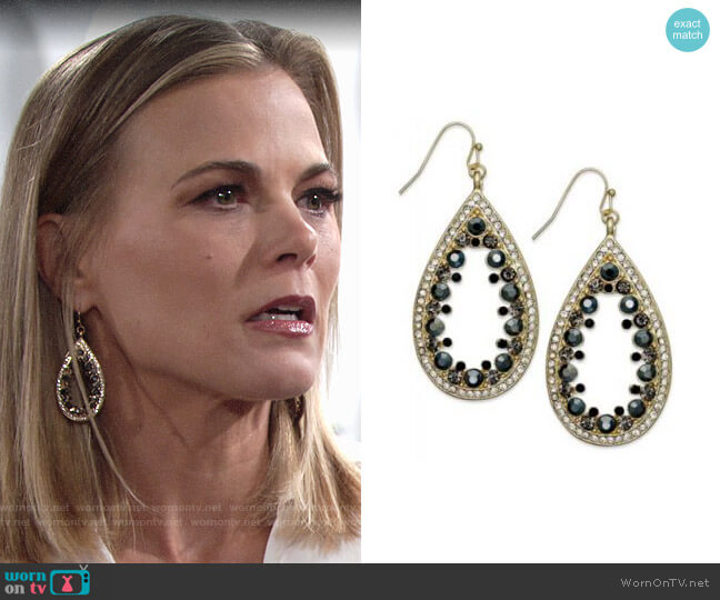 INC International Concepts Glass Stone Teardrop Earrings worn by Gina Tognoni on The Young & the Restless