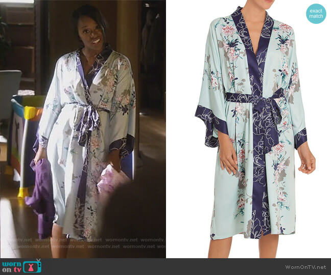 Floral Kimono Wrap Robe by In Bloom by Jonquil worn by Aja Naomi King on HTGAWM