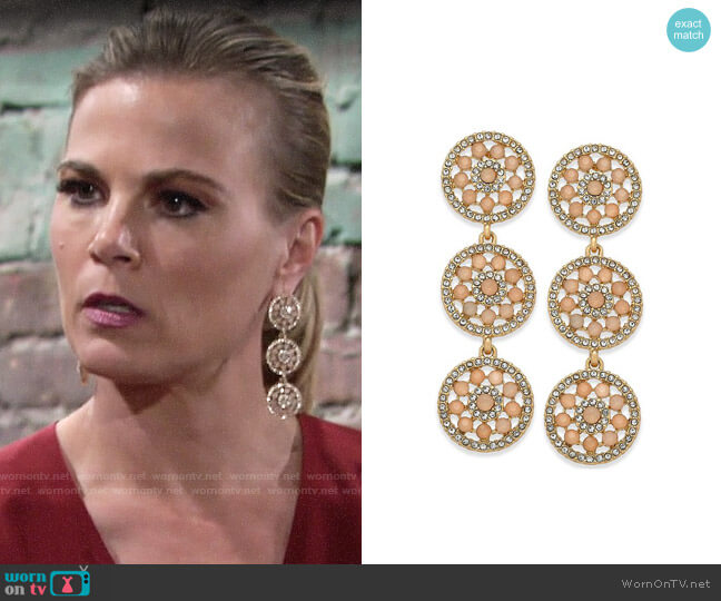 INC International Concepts Pavé & Colored Stone Flower Triple Drop Earrings worn by Gina Tognoni on The Young & the Restless