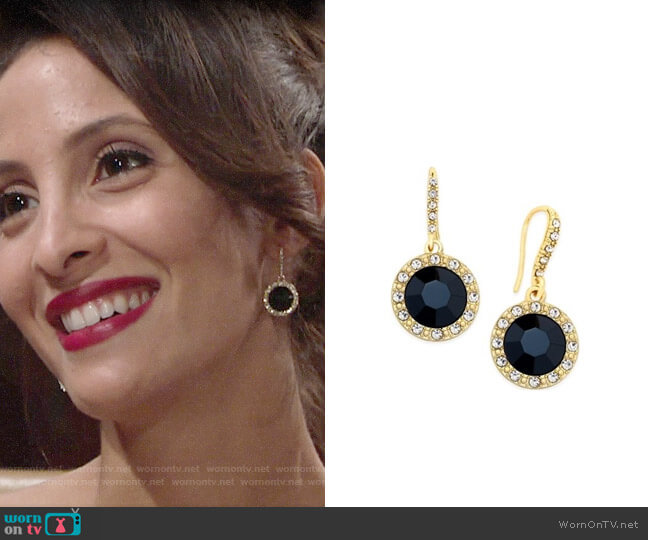 Inc International Concepts Round Stone Drop Earrings worn by Christel Khalil on The Young & the Restless