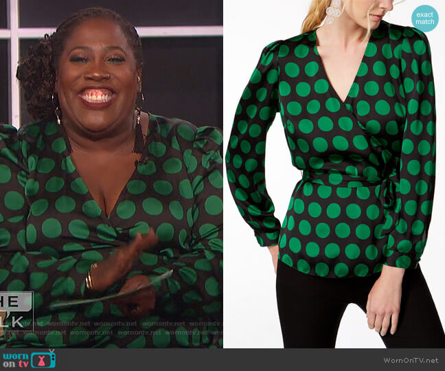 Dot-Print Wrap Top by INC International Concepts worn by Sheryl Underwood  on The Talk