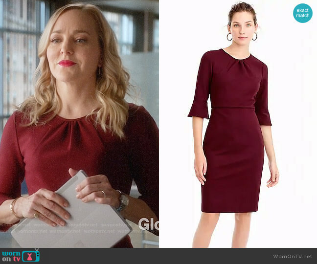 J. Crew Bell-sleeve sheath in stretch ponte worn by Marissa Morgan (Geneva Carr) on Bull