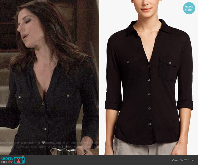 James Perse Sheer Slub Side Panel Shirt worn by Sam McCall (Kelly Monaco) on General Hospital