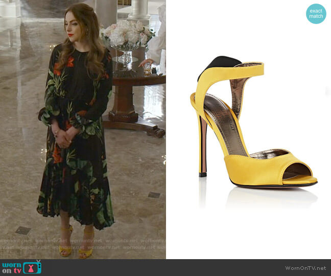 Jaqueline Satin Sandals by Samuele Failli worn by Fallon Carrington (Elizabeth Gillies) on Dynasty