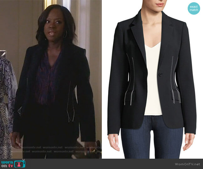 Compact Crepe Blazer Jacket by Jason Wu worn by Annalise Keating (Viola Davis) on HTGAWM