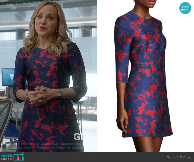 Jason Wu Floral Satin Jacquard Dress worn by Marissa Morgan (Geneva Carr) on Bull