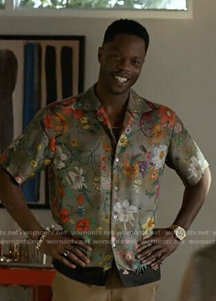 Jeff's green floral print shirt on Dynasty
