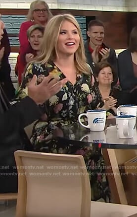 Jenna's black floral v-neck dress on Today