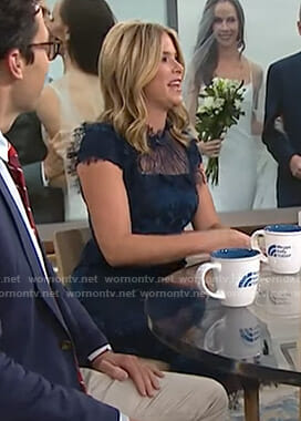 Jenna's navy lace midi dress on Megyn Kelly Today