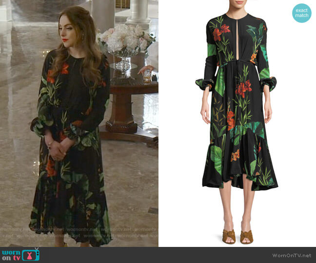 Namibia Dress by Johanna Ortiz worn by Fallon Carrington (Elizabeth Gillies) on Dynasty