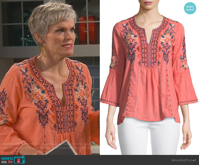 Marion Blouse by Johnny Was worn by Stephnie Weir on Happy Together
