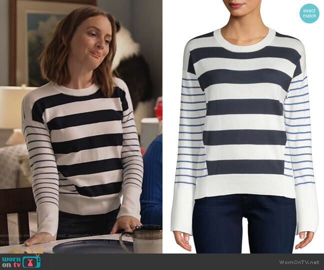 Kaylara Stripe Sweater by Joie worn by Leighton Meester on Single Parents