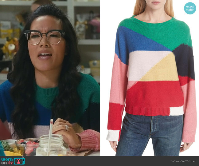 Megu Colorblock Wool & Cashmere Sweater by Joie worn by Ali Wong on American Housewife