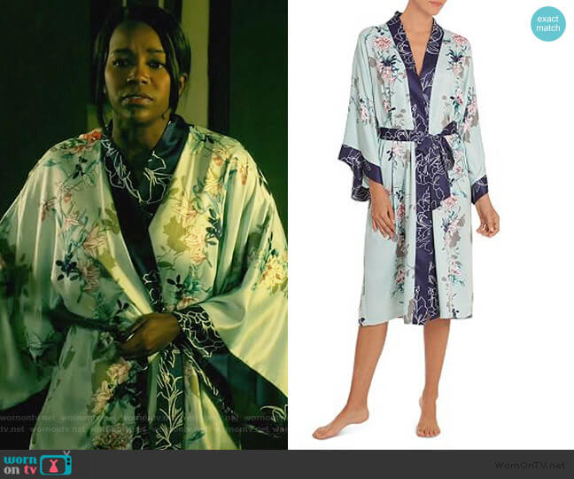 Floral Kimono Wrap Robe by In Bloom by Jonquil worn by Michaela Pratt (Aja Naomi King) on HTGAWM