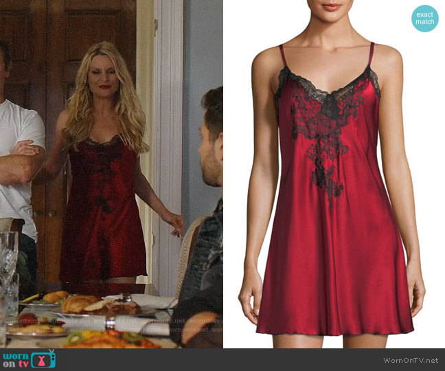 Josie Natori Camilla Lace-Trim Silk Chemise worn by Alexis Carrington (Nicollette Sheridan) on Dynasty