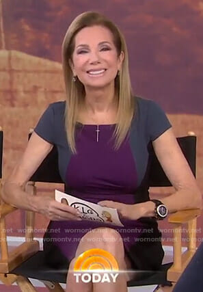 Kathie's purple colorblock dress on Today