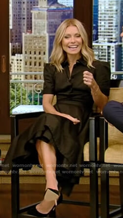 Kelly's black short sleeve shirtdress on Live with Kelly and Ryan
