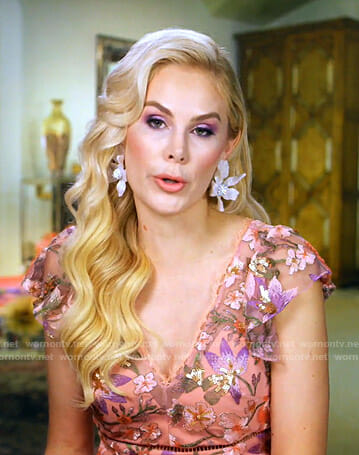 Kameron's pink floral embroidered dress on The Real Housewives of Dallas