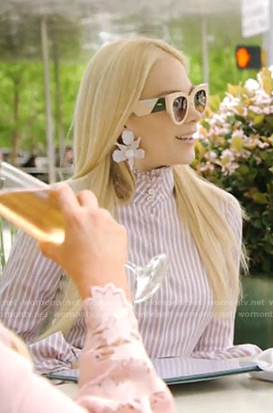 Kameron's pink striped blouse on The Real Housewives of Dallas