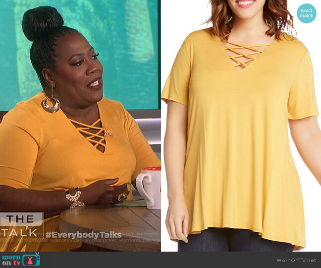 Criss-Cross Swing Top by Karen Kane Plus worn by Sheryl Underwood on The Talk