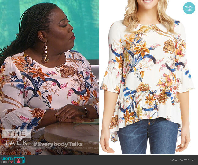 Floral Bell Sleeve Top by Karen Kane worn by Sheryl Underwood  on The Talk