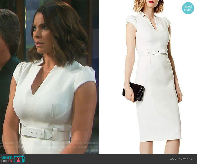 Belted Puff-Sleeve Sheath Dress by Karen Millen worn by Chloe Lane (Nadia Bjorlin) on Days of our Lives