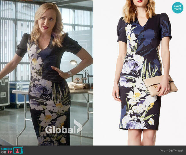 Karen Millen Sculpting Floral Pencil Dress worn by Marissa Morgan (Geneva Carr) on Bull