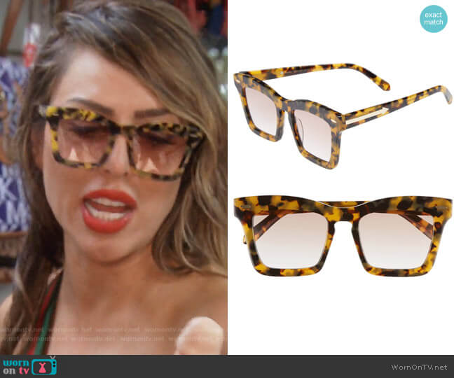 Banks 51mm Rectangular Sunglasses by Karen Walker worn by Kelly Dodd on The Real Housewives of Orange County