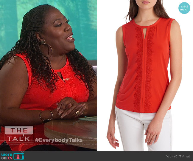 Lace-Trimmed Sleeveless Top by Karl Lagerfeld Paris worn by Sheryl Underwood (Sheryl Underwood) on The Talk